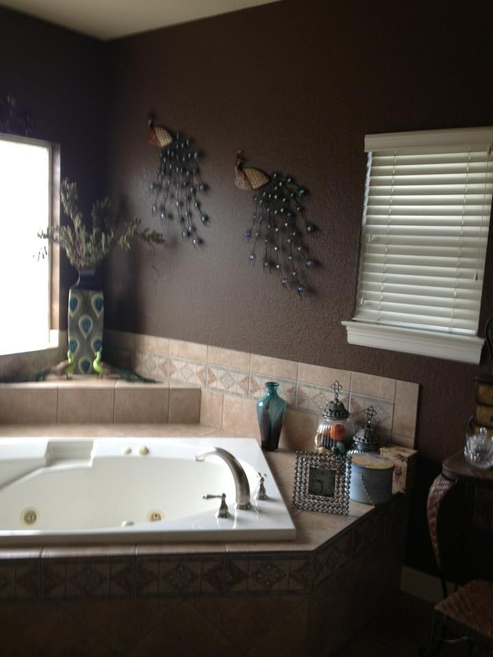Dark, chocolate painted walls.  I urge my customers often to go bold and daring in the Master Bath.  Why not?