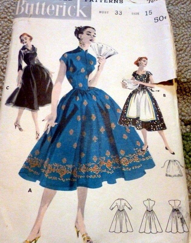 LOVELY VTG 1950s DRESS & APRON BUTTERICK Sewing Pattern 15/33 | eBay