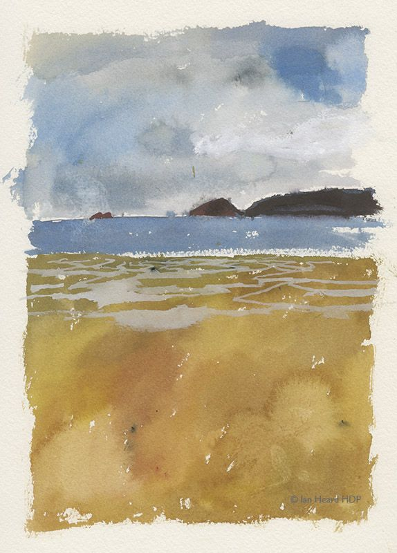 Sketchbook. Cape Cornwall and the Brissons, Watercolour and Body colour make a nice painting.