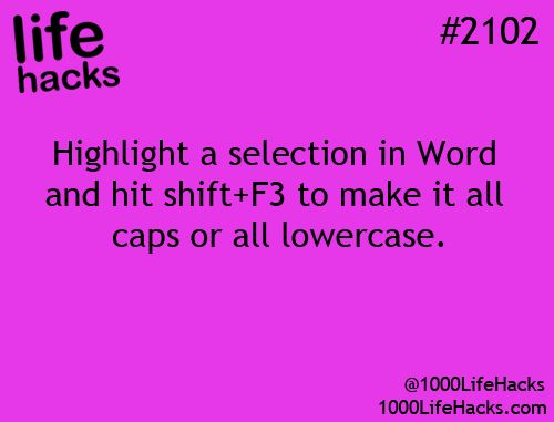 Caps and lowercase In Word