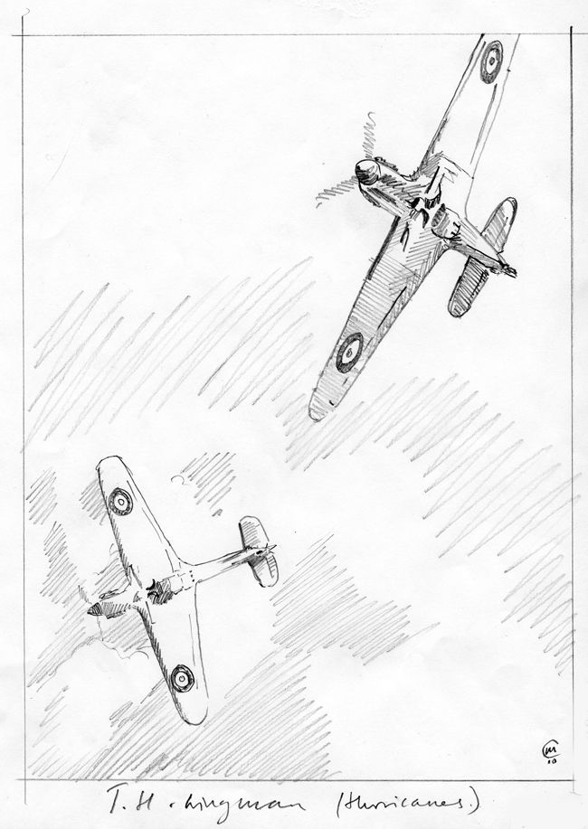Sketch for painting to be made of two Hawker Hurricanes