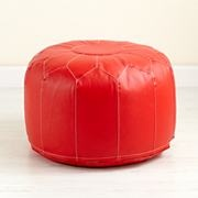 Kids' Seating: Kids Red Faux Leather Pouf Ottoman in Floor Cushions