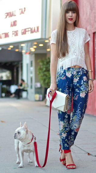 Comfy flower pants and fringe top! Red shoes! LadyD likes Fashion Blogger Style