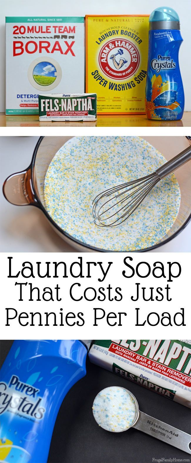 Making your own laundry detergent can really save you money. This diy laundry soap cost only pennies per load and cleans really well. I've been using it for years now and it worked great in my top loading washer and works just as good in my front loading washer too.