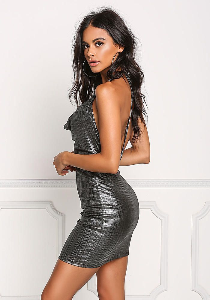Silver Metallic Plunge Draped Bodycon Dress - Going Out - Dresses