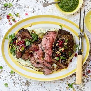 Braai leg of lamb with chimichurri sauce, pomegranates and cauliflower and zucchini puree