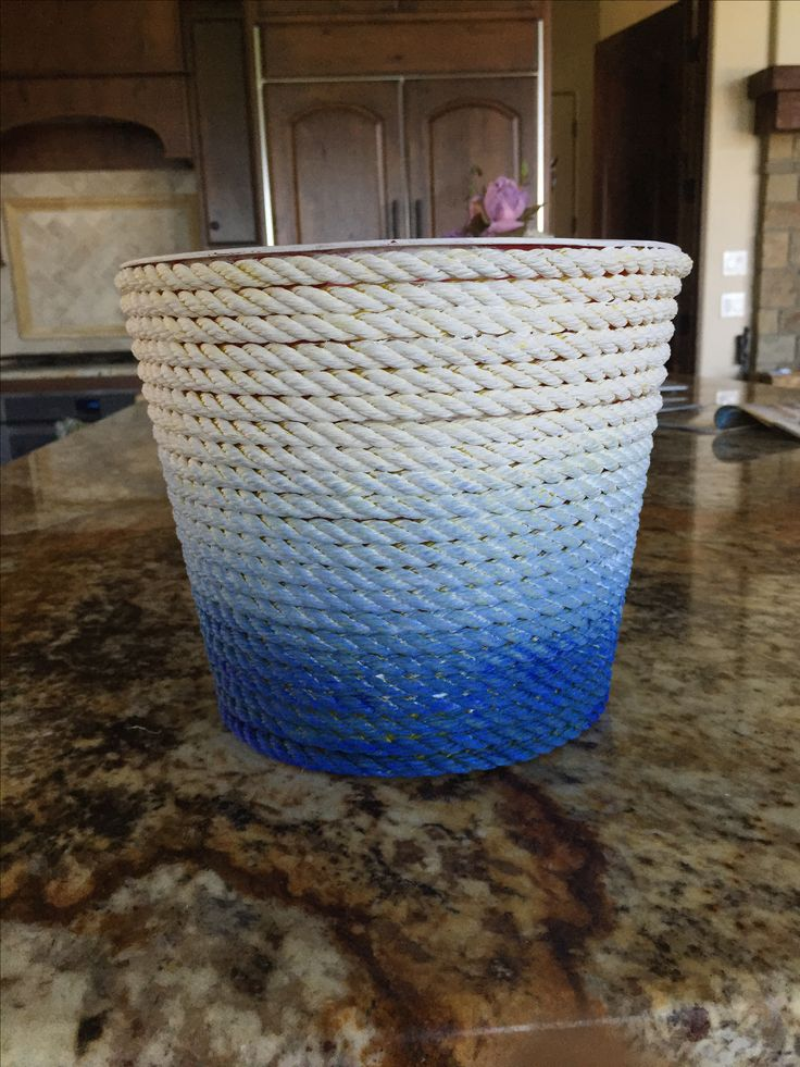 I just finished making this rope basket with my dad! We just used a plastic bucket from the dollar store and some old rope and we painted it! So happy with it😁