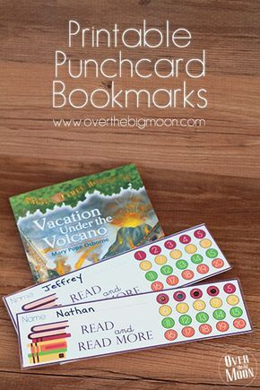 Printable Bookmark Punchcards! Such a great way to help motivate your kids to read nightly, with a reward at the end of the month! From www.overthebigmoon.com!