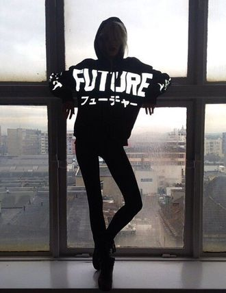 sweater japanese sweatshirt black black sweater black sweatshirt white letters white lettering future hoodie hood glow in the dark black and white swag fashion dope urban street streetwear winter outfits tumblr tumblr outfit chic