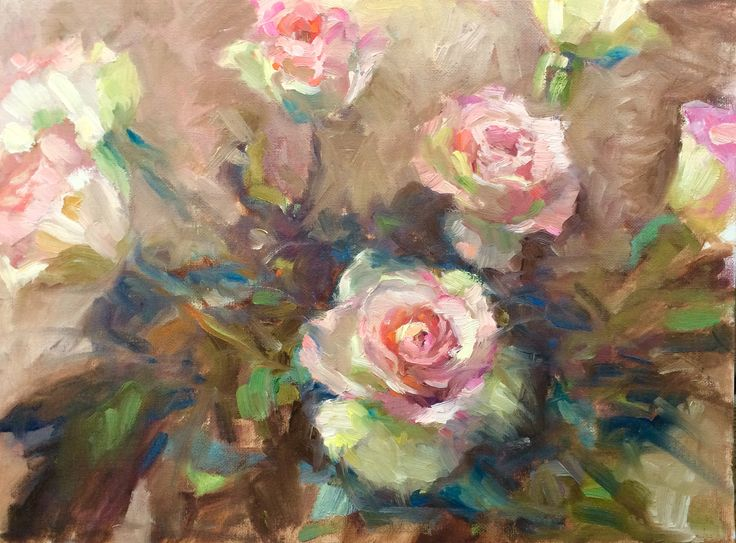 """""""Champagne"""", SOLD vintage rose oil painting by Finnish Artist Heidi Hjort 