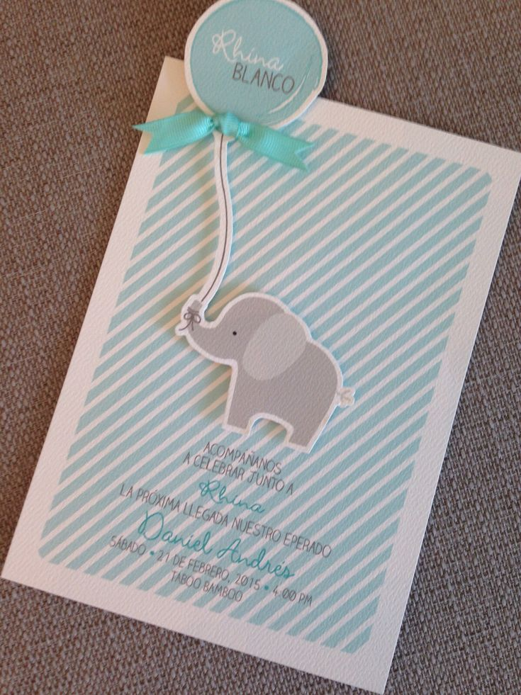 Boy baby shower invitation elephant