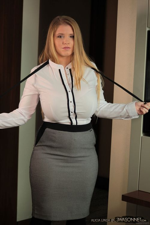 Sexy busty office white blouse love