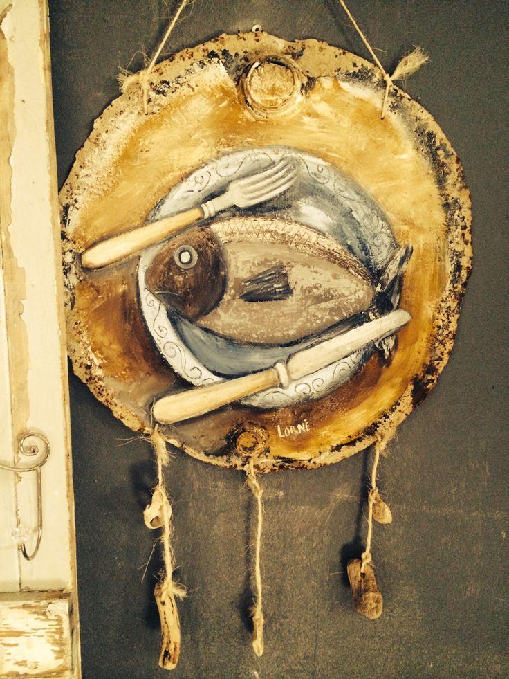 Oil on old metal drum lid