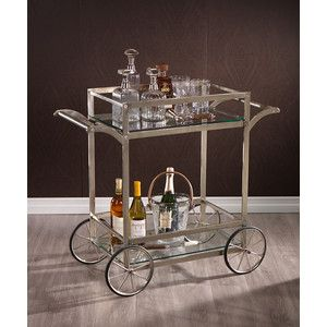 Zodax Global Two Tier Iron and Glass Rectangular Trolley