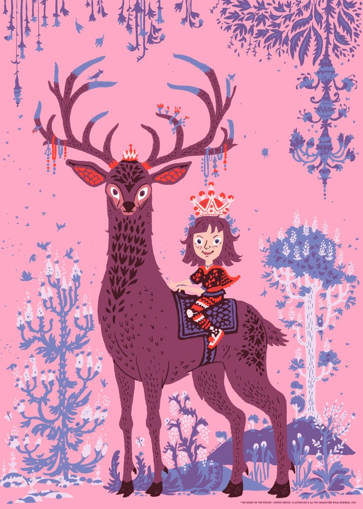 Queen of the Woods, poster illustration by Ilja Karsikas, 2015