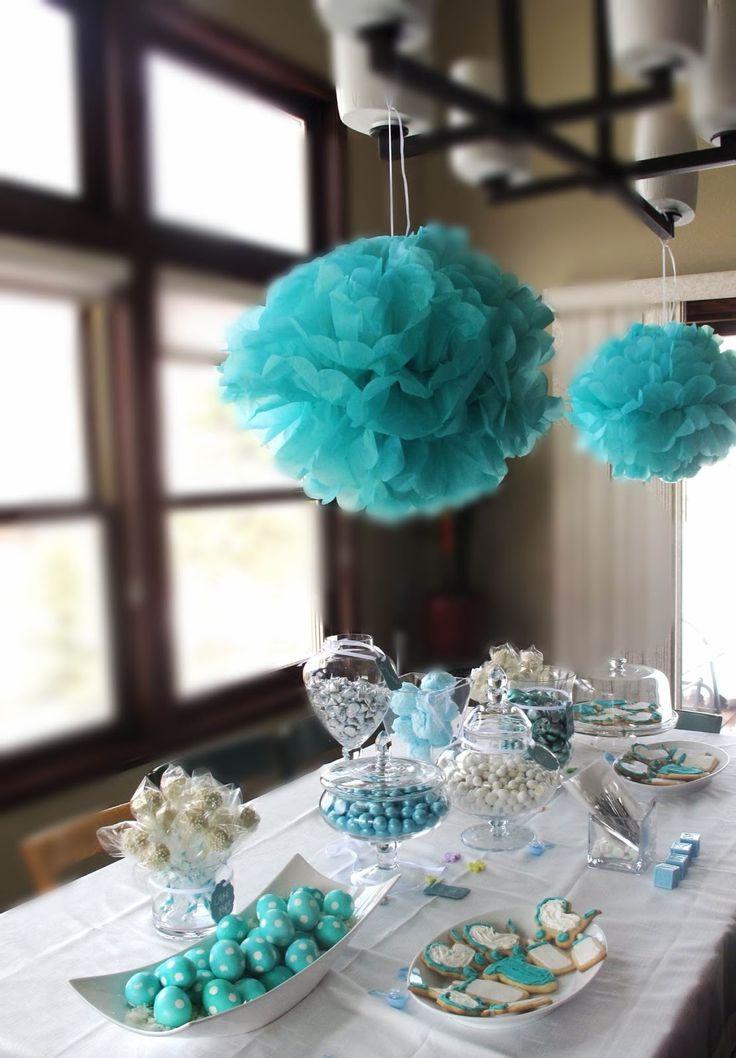 Tiffany Blue Gel Nails With Glitter: Tiffany Blue Themed Baby Shower!