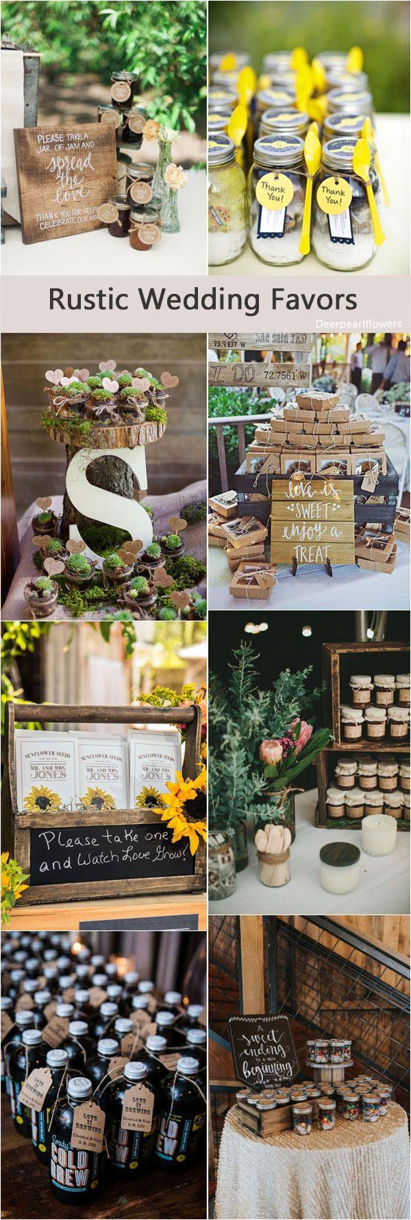 Assemblage d'idées de cadeaux invités pour un mariage rustique