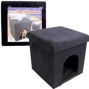 Folding-Cube-Pet-Ottoman-Seat-Footstool-Storage-Box-Lid-15-034-Suede-Black-NEW