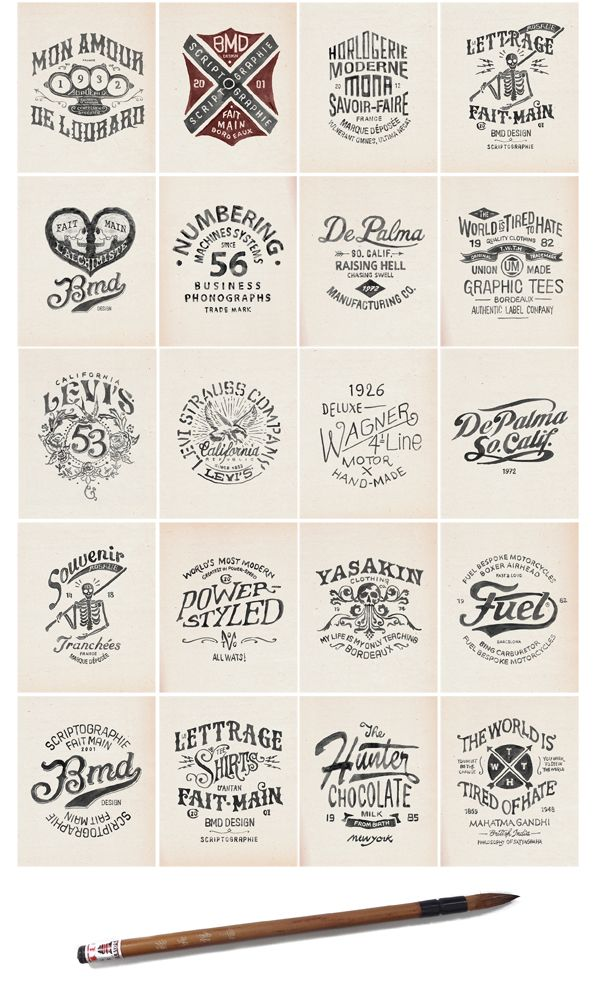 Text is truly the focus for these designs! There are so many different layouts, styles and scripts! This works for a logo looking to be text focused! Love the variety of choices!
