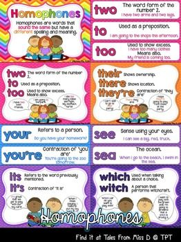 Help students develop their vocabulary by displaying this Homophone display your classroom. There are two different styles; flash cards and posters.