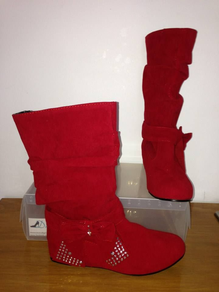 """Dreem Shoes """"Ice N Cosy"""" Red Size 4-12 $35 www.facebook.com/dreemshoes"""