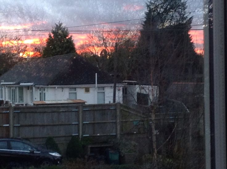 Not good quality but it looks like the sky is on fire!!!!