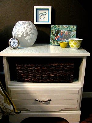 Paint nightstand, mod podge paper on the shelf, and add a basket