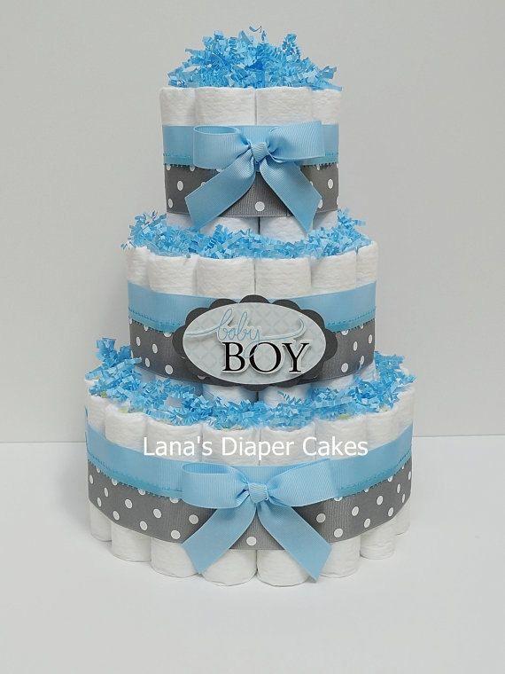 Baby Boy Blue And Gray Diaper Cake Baby von LanasDiaperCakeShop