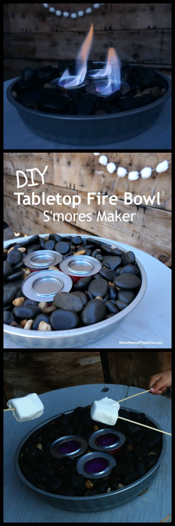 DIY Tabletop Fire Bowl. Perfect for Making S'mores without a campfire. See tutorial at Mom Always Finds Out.