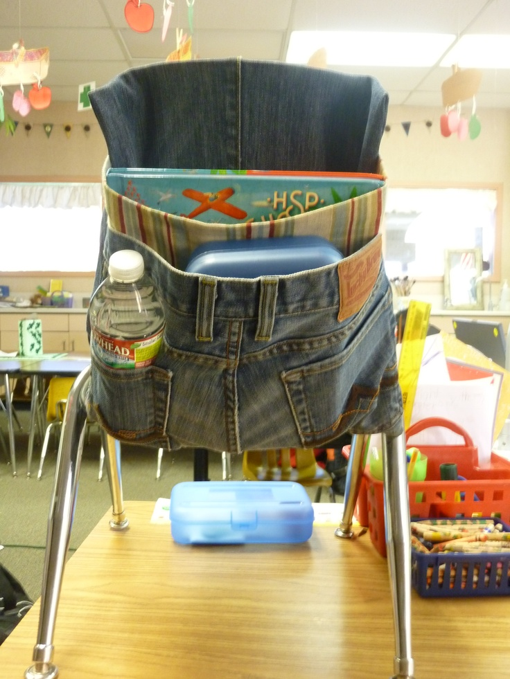 "Upcycled Denim Chair Pouches - These were easy to make and work great.  One of my favorite pairs of ""LUCKY"" Jeans were used on this one.  THE TUTORIAL IS ADDED!"