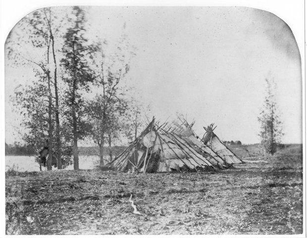 Birchbark Tents, Red River, Middle Settlement., 1858