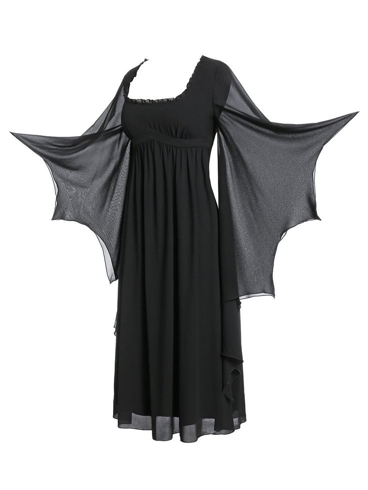Plus Size Flare Sleeve Maxi Gothic Dress