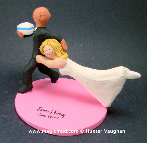 Bride Tackles Groom Football Wedding CakeTopper, Football Mom and Dad Wedding Anniversary Gift/Cake Topper, NFL Football Wedding CakeTopper    Handmade to your specifications by magicmud.com of kiln fired clay. Perfect one of a kind personalized keepsake for a football fan Wedding Cake Topper. $235 #magicmud 1 800 231 9814