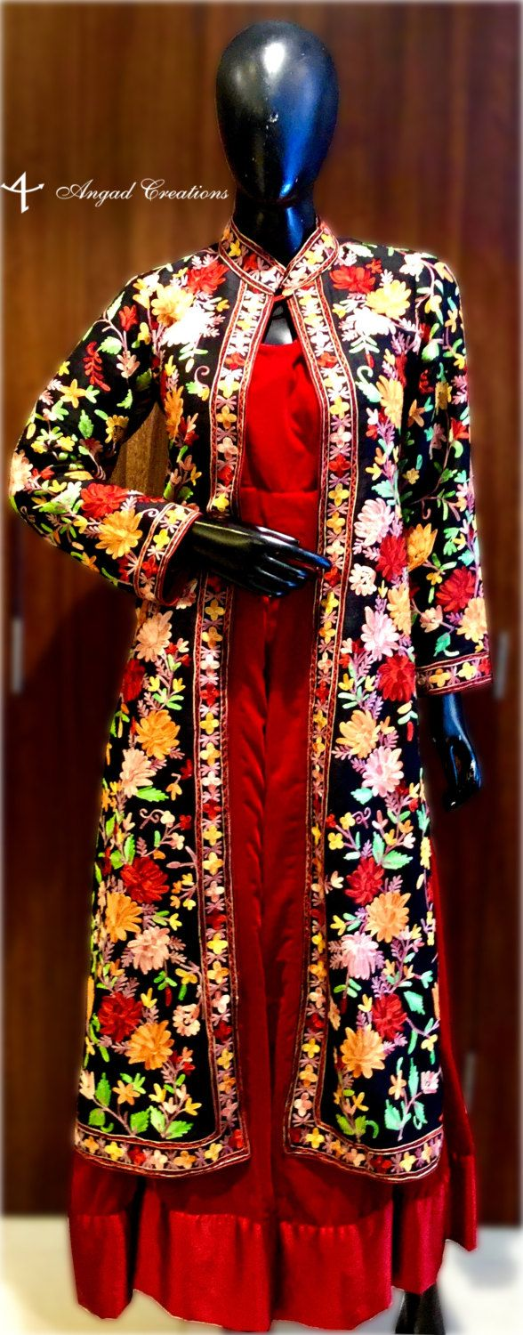 Suit in Style with this Jacket. Product Details Condition: Brand New Art Raw Silk Jacket With Multi-Color Aari Embroidery Base Color of Jacket: Black Made on Order (Custom Fitting as per your measurements) Shipping Will Make on Order. The process of making jacket starts the