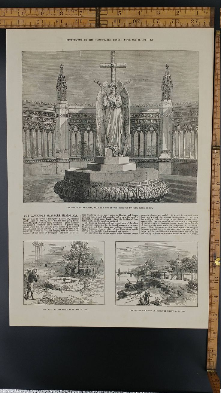 The Cawnpore Memorial, Near the Site of the Massacre by Nana Sahib in 1857 from 1874. Well at Cawnpore. Large Antique Engraving, About 11x16