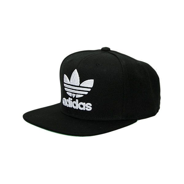Adidas Originals Trefoil Snapback Hat ($26) ❤ liked on Polyvore featuring accessories, hats, black, print snapback, flat bill snapback hats, snap back hats, six panel hat and adidas hats