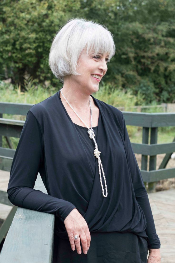 Stunning pearl necklace worn with black draped top styleatanyage http://www.chicatanyage.com