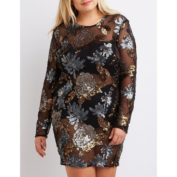Charlotte Russe Sequin Bodycon Dress ($47) ❤ liked on Polyvore featuring plus size women's fashion, plus size clothing, plus size dresses, black combo, plus size floral dresses, plus size bodycon dresses, sexy plus size dresses, plus size cocktail dresses and long sleeve floral dress