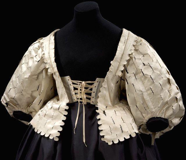 1630-1639, England - Bodice - Silk satin, silk taffeta, canvas, buckram and whalebone, handsewn