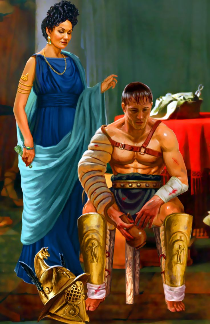 Roman matron with a gladiator