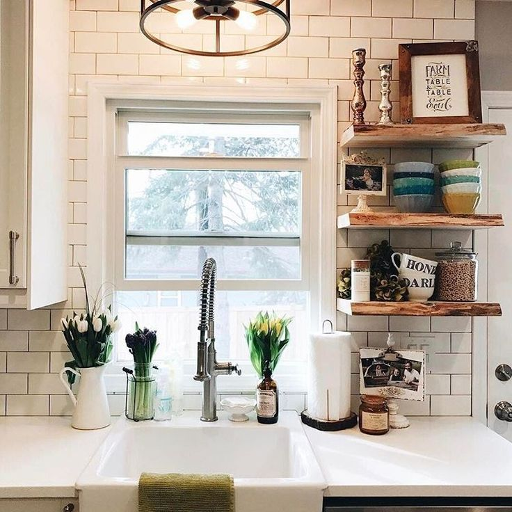 Open kitchen shelves by Shelfology