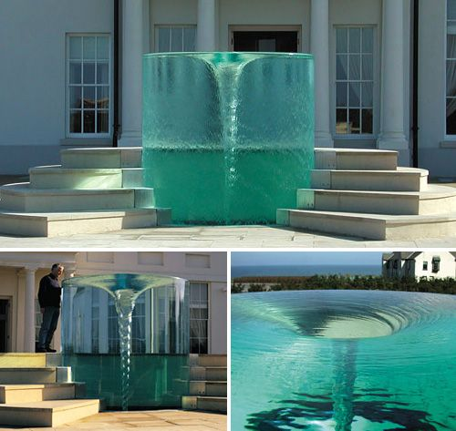 Charybdis Fountain in Seaham, England. A vortex fountain that seems to rise out of the ground