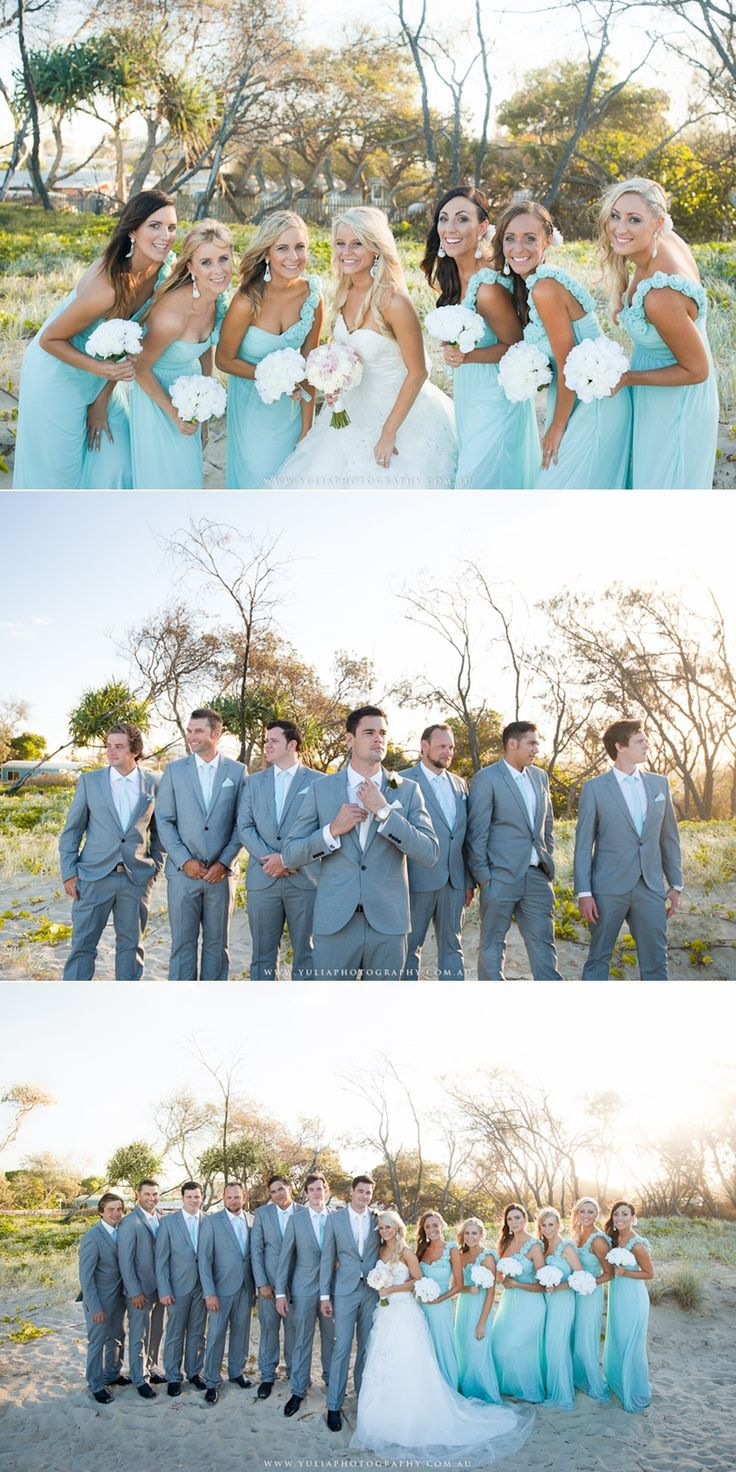 Everything is perfect in these bridal party pictures! Absolutely stunning turquoise bridesmaid dresses and such nice colours or groomsmen suits! Totally in love with this wedding!!! ~Sydney wedding photography by Yulia Photography~ www.yuliaphotography.com.au