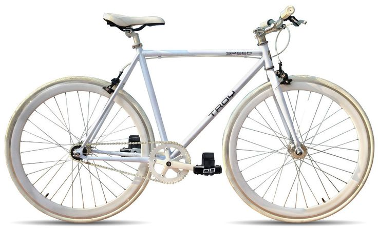 TROY Speed Herren Sportrad Rennrad Trainings Fahrrad 28 Zoll Singlespeed Weiß
