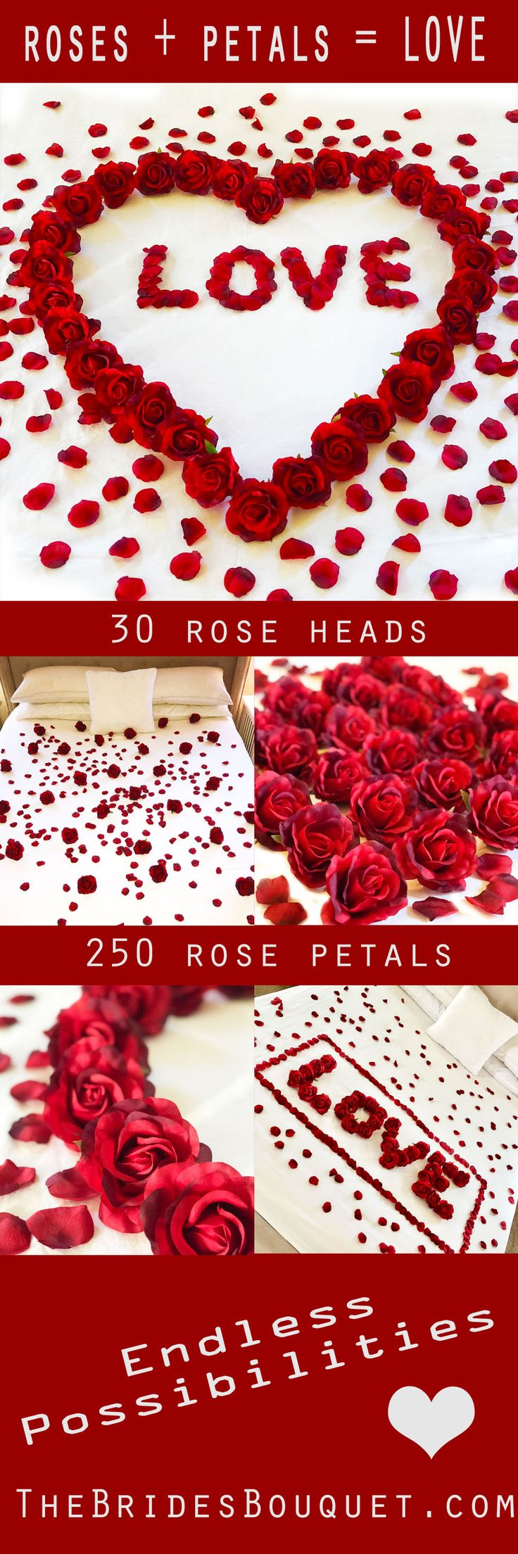 Turn up the romance with this romantic floral decoration package. You will receive everything you need to create your very own beautiful and memorable display. Includes 30 of the most realistic looking silk red roses and 250 matching red rose petals. Perfect for a special getaway weekend, anniversary, Valentine's Day! TheBridesBouquet.com