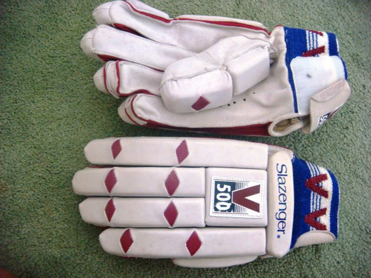 Vintage Slazenger Cricket Batting Gloves V500 Leather