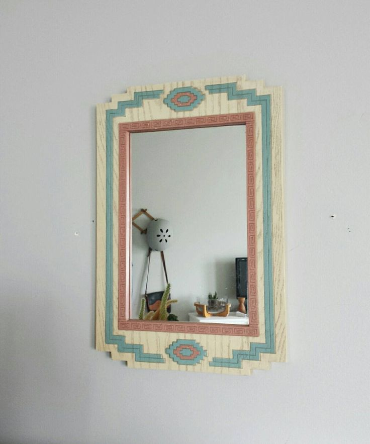 Wall Mirror Vintage Decorative Southwestern Decor Aztec Wall Decor Hanging Mirror Aztec Nursery Decor Tribal Nursery Decor Tribal Wall Decor by ShopMidCenturyModest on Etsy https://www.etsy.com/listing/497679732/wall-mirror-vintage-decorative
