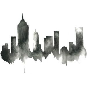 Black artwork of NYC, New York City Skyline, Print from Original Watercolor Painting, Home Decor, Kitchen art, Modern wall artwork,