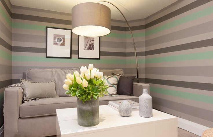 Cozy living room nook with striped wallpaper for Small room 5 1 or 7 1