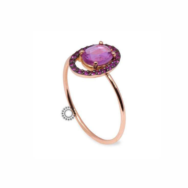 Μονόπετρο δαχτυλίδι από ροζ χρυσό Κ18 με ροζ ζαφείρια | Δαχτυλίδια με ορυκτές πέτρες online & στο κατάστημα ΤΣΑΛΔΑΡΗΣ στο Χαλάνδρι  #ζαφείρι #μονόπετρο #δαχτυλίδι